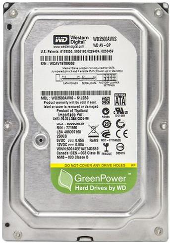 """Внутрішній жорсткий диск Western Digital AV greenPower 250ГБ 7200 обертів в хвилину 3.5"""" SATA II WD2500AVVS, мініатюра №1"""