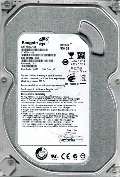 """Внутрішній жорсткий диск Seagate SV35 Series 500ГБ 7200 обертів в хвилину 16МБ 3.5"""" SATA II ST3500410SV, мініатюра №1"""