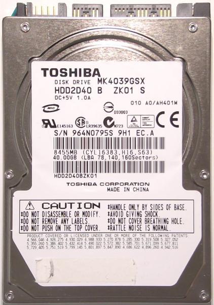 """Внутрішній жорсткий диск Toshiba 40ГБ 5400 обертів в хвилину 8МБ 2.5"""" SATA MK4039GSX, мініатюра №1"""