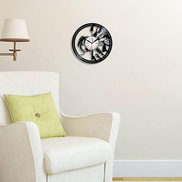 Часы настенные Art-Decor Виниловая пластинка Парикмахер 30 см Черные, мініатюра №2