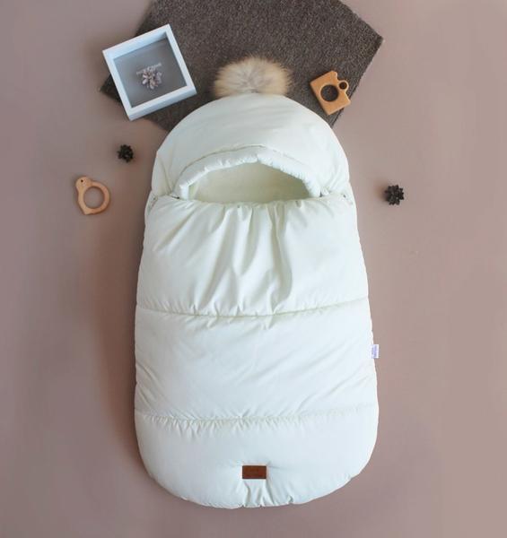 Зимний набор для ребенка кокон-конверт теплый человечек Бебби молочный 50, 56, 62, 68, мініатюра №4