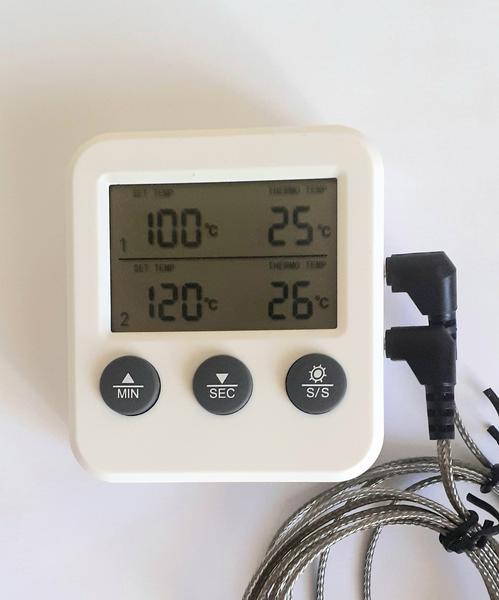 Термометр с выносным щупом двоканальный на 2 выносных щупа Digital Cooking Thermometr Timer TR-2, мініатюра №3