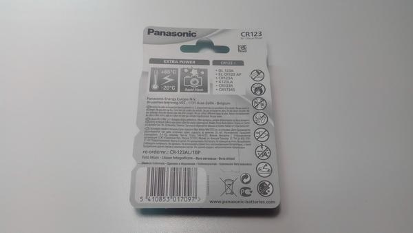 Батарейка литиевая Panasonic CR123A LITHIUM 3V 1pc blister card, мініатюра №3