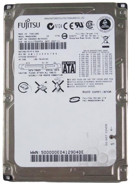 """Внутрішній жорсткий диск Fujitsu 40ГБ 5400 обертів в хвилину 8МБ 2.5"""" SATA MHW2040BH, мініатюра №1"""