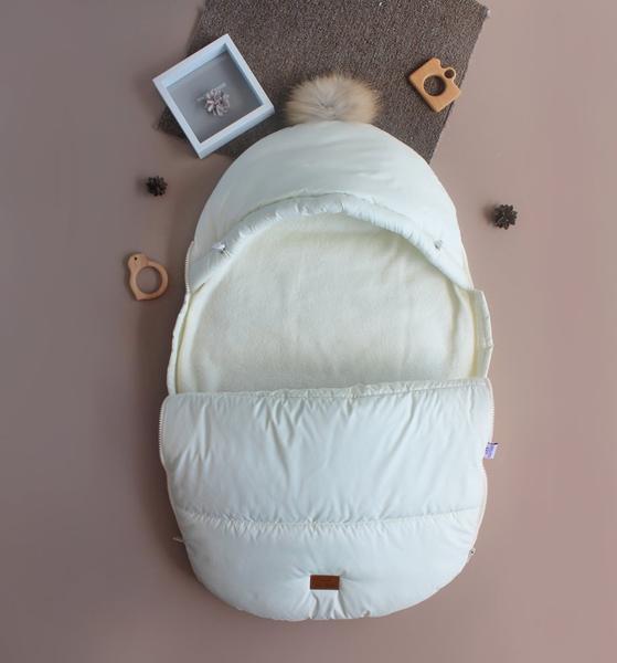 Зимний набор для ребенка кокон-конверт теплый человечек Бебби молочный 50, 56, 62, 68, мініатюра №5