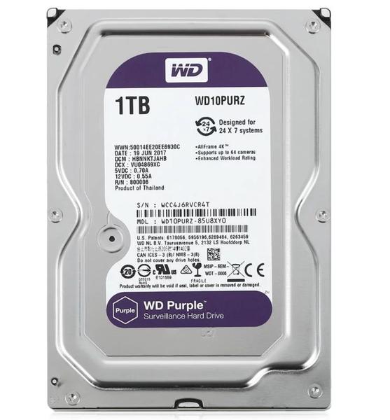 """Внутрішній жорсткий диск Western Digital 1ТБ 3.5"""" 5400 обертів в хвилину 64МБ SATAIII purple WD10PURZ, мініатюра №1"""