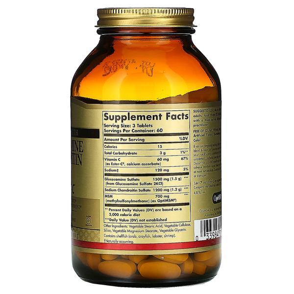 Solgar Glucosamine Chondroitin MSM with Ester-C 180 таблеток, мініатюра №2