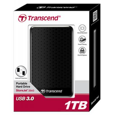 """Зовнішній жорсткий диск Transcend 2ТБ 2.5"""" USB 3.0 чорний TS2TSJ25A3K, мініатюра №3"""