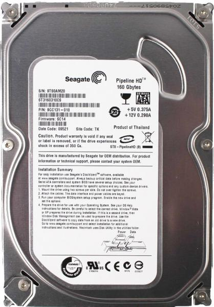 """Внутрішній жорсткий диск Seagate Pipeline HD 160ГБ 5900 обертів в хвилину 8МБ 3.5"""" SATA II ST3160310CS, мініатюра №1"""