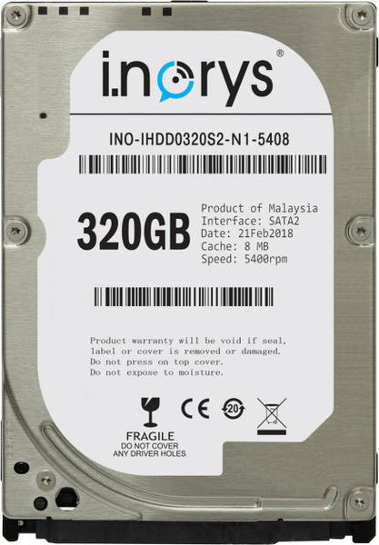 """Внутрішній жорсткий диск I.norys 320ГБ 5400 обертів в хвилину 8МБ 2.5"""" SATA II INO-IHDD0320S2-N1-5408, мініатюра №1"""