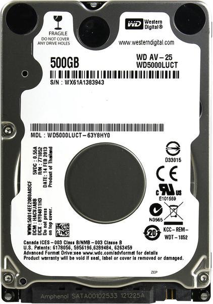 """Внутрішній жорсткий диск Western Digital AV-25 500ГБ 5400 обертів в хвилину 16МБ 2.5"""" SATA II WD5000LUCT, мініатюра №2"""