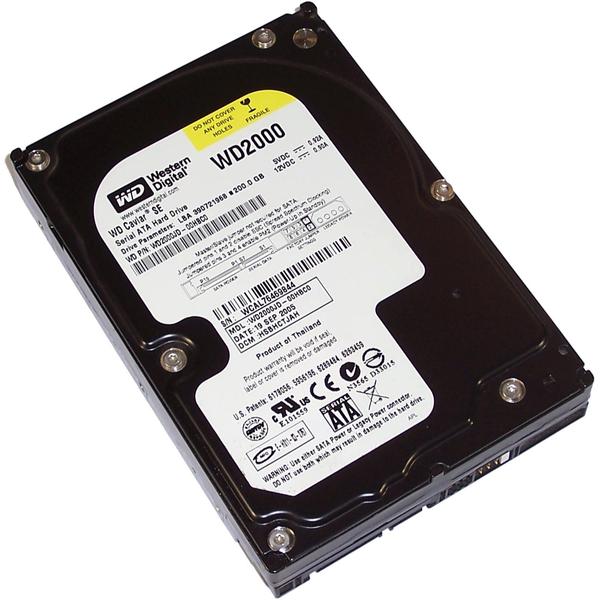 """Внутрішній жорсткий диск Western Digital Caviar SE 200ГБ 7200 обертів в хвилину 8МБ 3.5"""" SATA WD2000JD, мініатюра №1"""