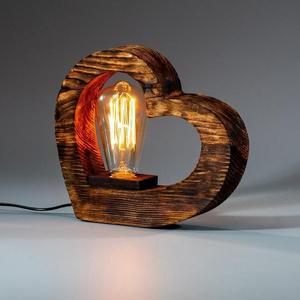 Деревянный Настольный loft Светильник Ночник из Сосны в форме Сердца с лампа Эдисона Ручная работа