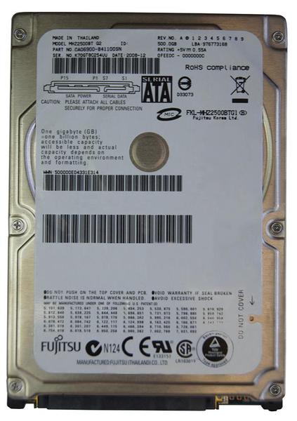 """Внутрішній жорсткий диск Fujitsu 500ГБ 4200 обертів в хвилину 8МБ 2.5"""" SATA II MHZ2500BT, мініатюра №1"""