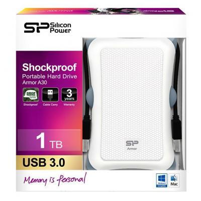 """Зовнішній жорсткий диск Silicon Power 1ТБ 2.5"""" USB 3.0 білий SP010TBPHDA30S3W, мініатюра №3"""