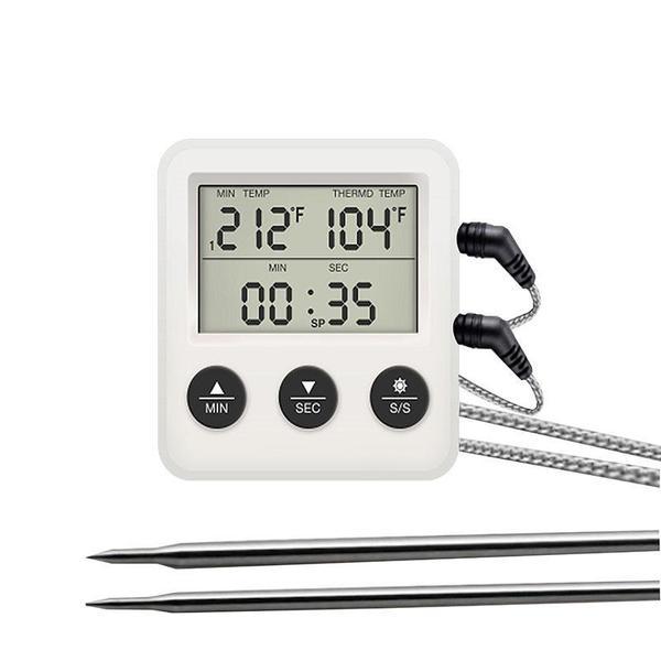 Термометр с выносным щупом двоканальный на 2 выносных щупа Digital Cooking Thermometr Timer TR-2, мініатюра №1