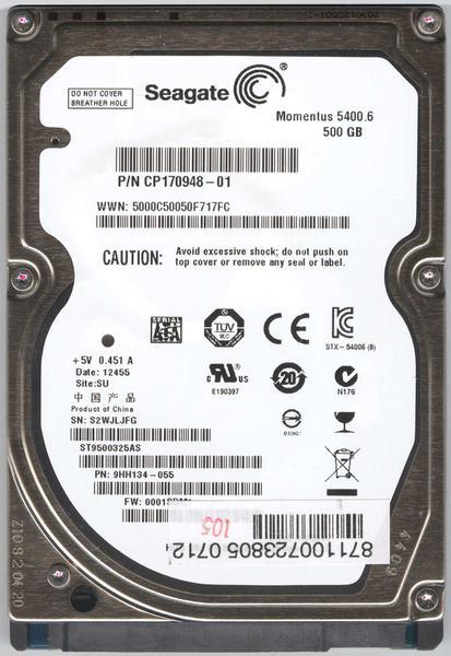 """Внутрішній жорсткий диск Seagate Momentus 500ГБ 5400 обертів в хвилину 8МБ 2.5"""" SATA II ST9500325AS, мініатюра №1"""