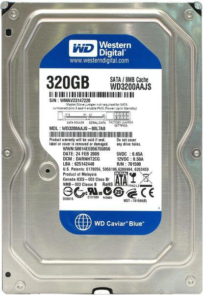 """Внутрішній жорсткий диск Western Digital 320ГБ 7200 обертів в хвилину 8МБ 3.5"""" SATA II WD3200AAJS, мініатюра №1"""