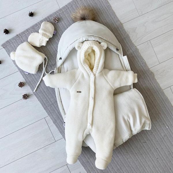 Зимний набор для ребенка кокон-конверт теплый человечек Бебби молочный 50, 56, 62, 68, мініатюра №3