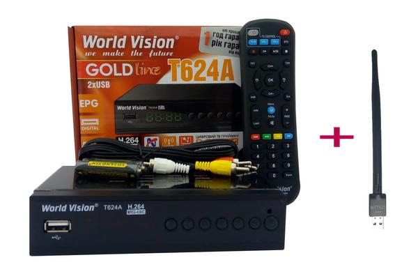 Т2 тюнер World Vision T624А WI-FI модуль 5Дб дальнобойный  IPTV , мініатюра №1