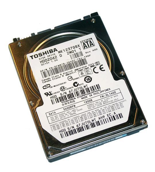 """Внутрішній жорсткий диск Toshiba 120ГБ 5400 обертів в хвилину 8МБ 2.5"""" SATA II MK1237GSX, мініатюра №2"""