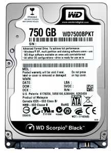"""Внутрішній жорсткий диск Western Digital Scorpio black 750ГБ 7200 обертів в хвилину 16МБ 2.5"""" SATA II WD7500BPKT, мініатюра №1"""