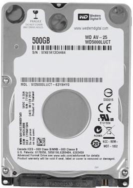 """Внутрішній жорсткий диск Western Digital AV-25 500ГБ 5400 обертів в хвилину 16МБ 2.5"""" SATA II WD5000LUCT, мініатюра №1"""