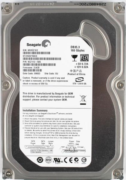 """Внутрішній жорсткий диск Seagate DB35 Series 160ГБ 7200 обертів в хвилину 2МБ 3.5"""" SATA II ST3160215SCE, мініатюра №1"""