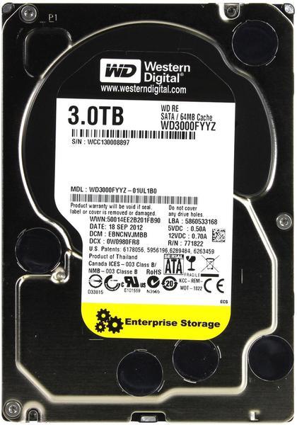 """Внутрішній жорсткий диск Western Digital RE 3ТБ 7200 обертів в хвилину 64МБ 3.5"""" SATA III WD3000FYYZ, мініатюра №1"""