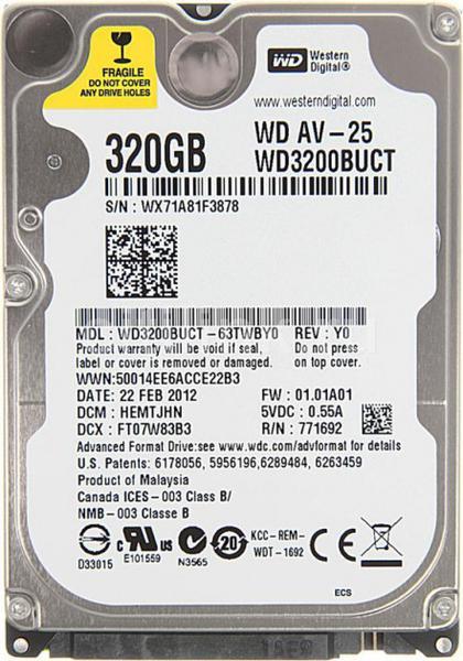 """Внутрішній жорсткий диск Western Digital 320ГБ 5400 обертів в хвилину 16МБ 2.5"""" SATA II WD3200BUCT, мініатюра №1"""