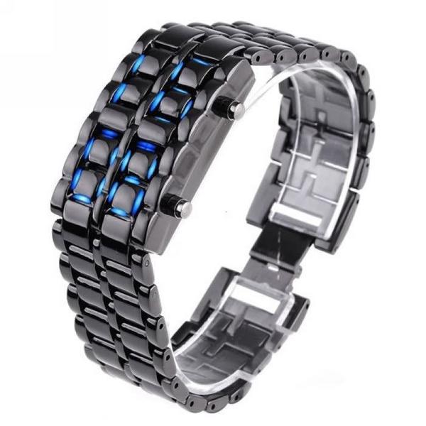 Часы-браслет Iron Samurai черный с синими светодиодами код IBW012BZ, мініатюра №1