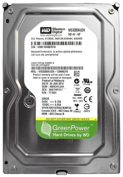 """Внутрішній жорсткий диск Western Digital AV-GP 320ГБ 7200 обертів в хвилину 32МБ 3.5"""" SATA III WD3200AUDX, мініатюра №1"""