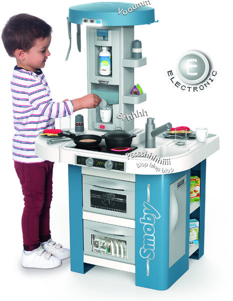 Интерактивная детская кухня со звуком голубая Tech Edition Smoby 311049, мініатюра №2
