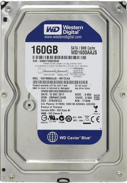 """Внутрішній жорсткий диск Western Digital Caviar blue 160ГБ 7200 обертів в хвилину 8МБ 3.5"""" SATA II WD1600AAJS, мініатюра №1"""
