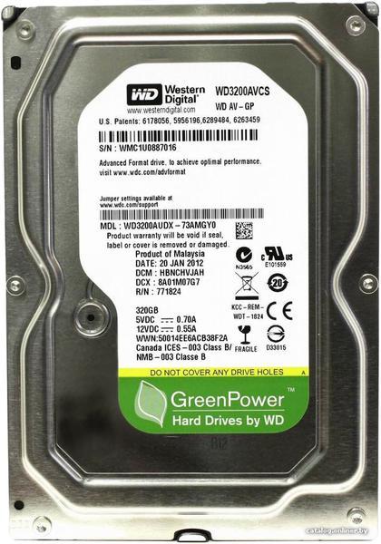 """Внутрішній жорсткий диск Western Digital 320ГБ 5400 обертів в хвилину 16МБ 3.5"""" SATA II WD3200AVCS, мініатюра №1"""