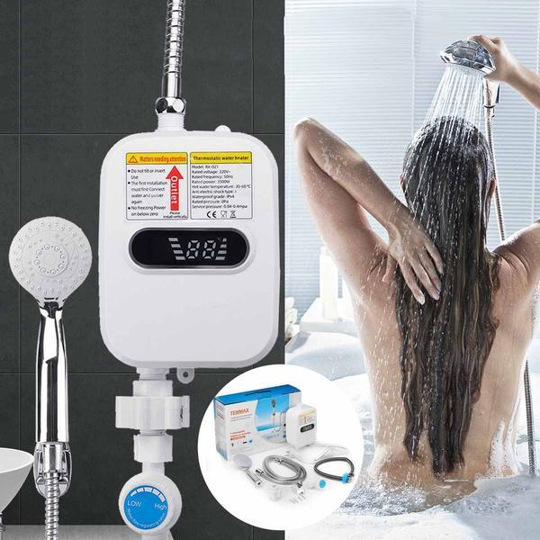 Термостатический проточный водонагреватель Delimano1 с экраном и душем, мініатюра №4