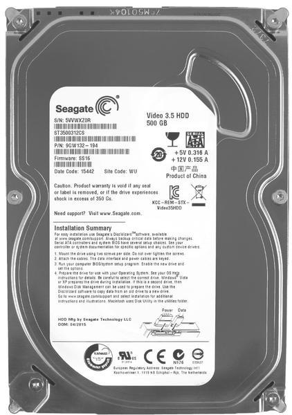 """Внутрішній жорсткий диск Seagate Pipeline HD 500ГБ 5900 обертів в хвилину 8МБ 3.5"""" SATA II ST3500312CS, мініатюра №1"""