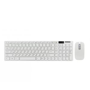 Русская беспроводная клавиатура с мышкой UKC k06 адаптером Белая