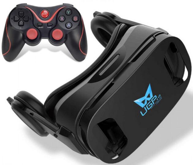 3D Очки шлем виртуальной реальности Baidroid UGP U8 c джойстиком Terios T3 Черный, мініатюра №1