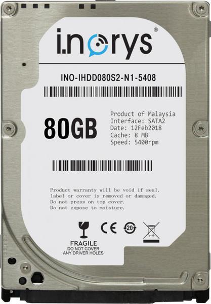 """Внутрішній жорсткий диск I.norys 80ГБ 5400 обертів в хвилину 8МБ 2.5"""" SATA II INO-IHDD080S2-N1-5408, мініатюра №1"""