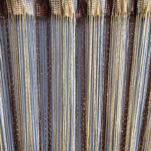 Шторы нити радуга дождь с люрексом 300x280 cm Коричнево-золотисто-бежево-белые (Ki-301), мініатюра №1