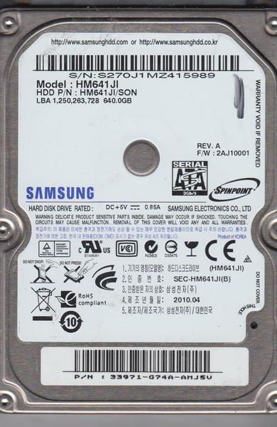 """Внутрішній жорсткий диск Samsung Spinpoint M 640ГБ 5400 обертів в хвилину 8МБ 2.5"""" SATA II HM641JI, мініатюра №1"""