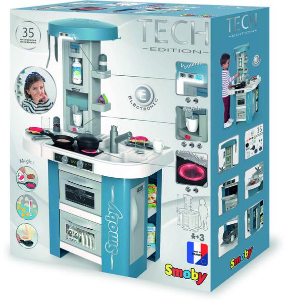 Интерактивная детская кухня со звуком голубая Tech Edition Smoby 311049, мініатюра №9