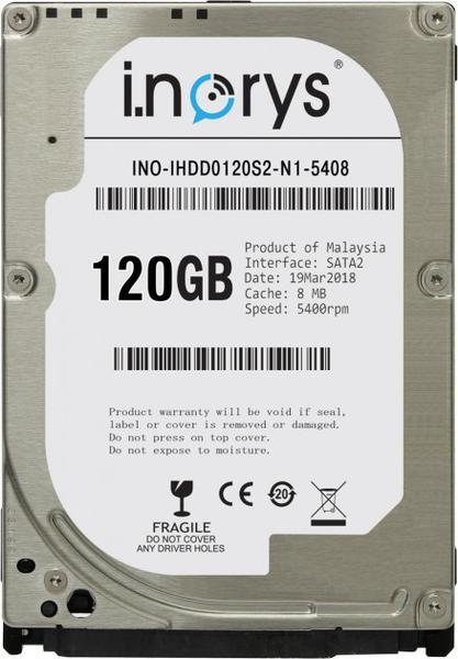 """Внутрішній жорсткий диск I.norys 120ГБ 5400 обертів в хвилину 8МБ 2.5"""" SATA II INO-IHDD0120S2-N1-5408, мініатюра №1"""