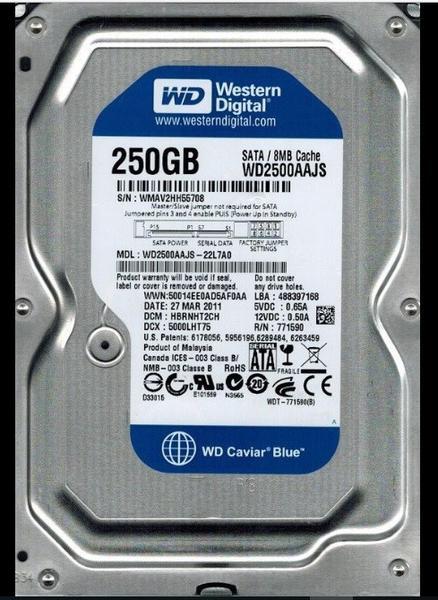 """Внутрішній жорсткий диск Western Digital Caviar blue 250ГБ 7200 обертів в хвилину 8МБ 3.5"""" SATA II WD2500AAJS, мініатюра №1"""