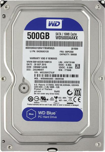 """Внутрішній жорсткий диск Western Digital blue 500ГБ 7200 обертів в хвилину 16МБ 3.5"""" SATA III WD5000AAKX, мініатюра №1"""