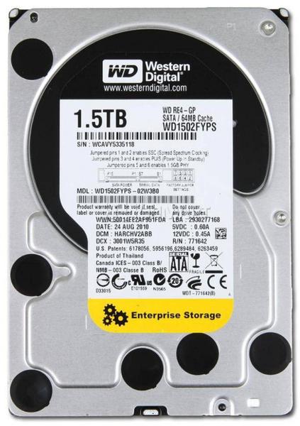 """Внутрішній жорсткий диск Western Digital 1.5ТБ 7200 обертів в хвилину 64МБ 3.5"""" SATA II WD1502FYPS, мініатюра №1"""