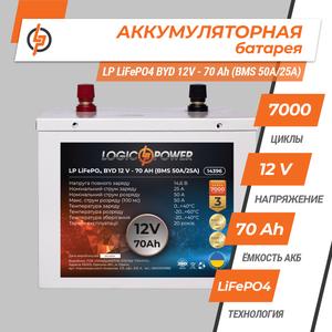 Акумулятор LP LiFePO4 BYD 12V 70 Ah BMS 50A/25А) метал