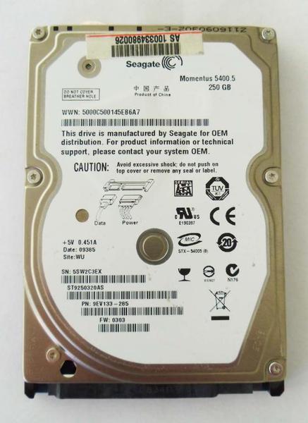 """Внутрішній жорсткий диск Seagate 250ГБ 5400 обертів в хвилину 8МБ 2.5"""" SATA III ST9250320AS, мініатюра №1"""