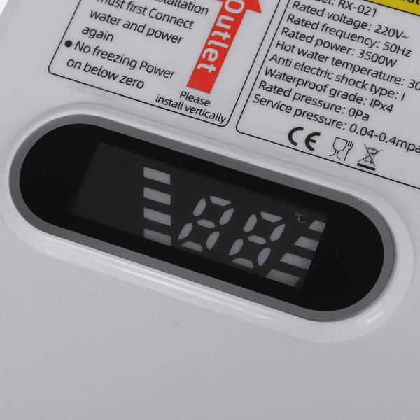 Термостатический проточный водонагреватель Delimano1 с экраном и душем, мініатюра №11